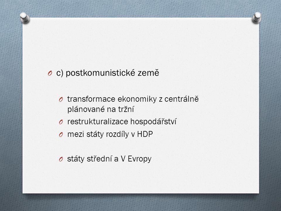 O c) postkomunistické země O transformace ekonomiky z centrálně plánované na tržní O restrukturalizace hospodářství O mezi státy rozdíly v HDP O státy