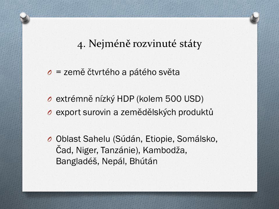 4. Nejméně rozvinuté státy O = země čtvrtého a pátého světa O extrémně nízký HDP (kolem 500 USD) O export surovin a zemědělských produktů O Oblast Sah
