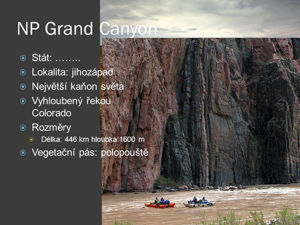 NP Grand Canyon  Stát: ……..  Lokalita: jihozápad  Největší kaňon světa  Vyhloubený řekou Colorado  Rozměry  Délka: 446 km hloubka:1600 m  Veget