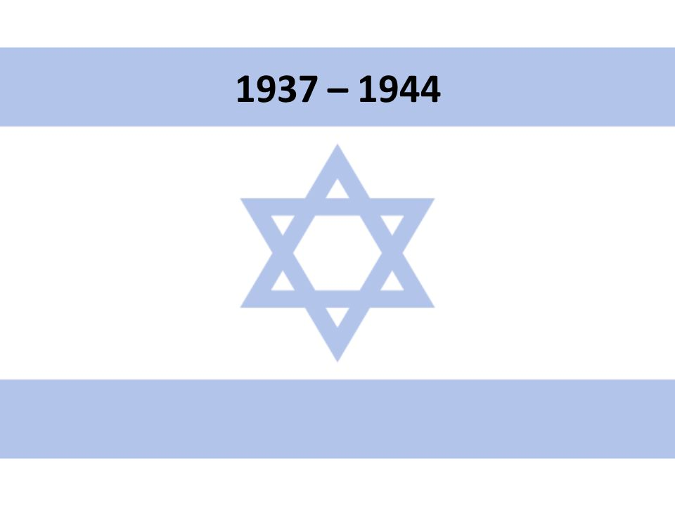 1937 – královská komise lorda Peela vyšetřuje na místě příčiny nepokojů Komise navrhla malé území budoucího státu a přísné kvóty přistěhovalců – Židé zklamáni Britové se vůči Arabům chovají jako později v Mnichově vůči Hitlerovi