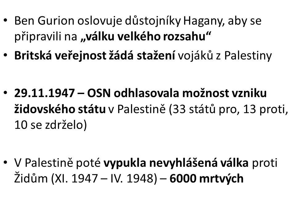 1948 Vydatné dodávky zbraní z Československa 14.5.1948 – vyhlášen Stát Izrael (v 17:00 v hlavním sále muzea v Tel-Avivu) Ben Gurion – předseda vlády Chajm Weizmann – prezident 11 minut poté uznaly USA Izrael 15.5.