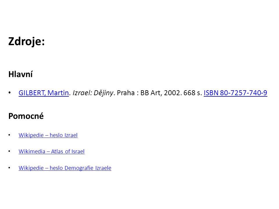 Zdroje: Hlavní GILBERT, Martin. Izrael: Dějiny. Praha : BB Art, 2002. 668 s. ISBN 80-7257-740-9 GILBERT, MartinISBN 80-7257-740-9 Pomocné Wikipedie –