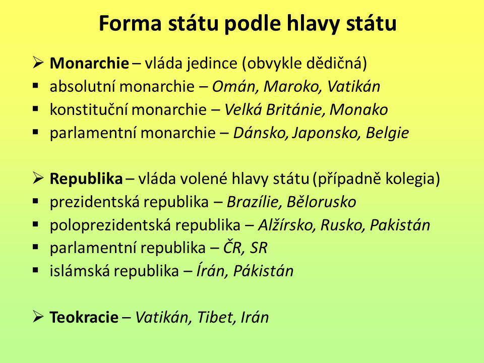 Forma státu podle hlavy státu  Monarchie – vláda jedince (obvykle dědičná)  absolutní monarchie – Omán, Maroko, Vatikán  konstituční monarchie – Ve