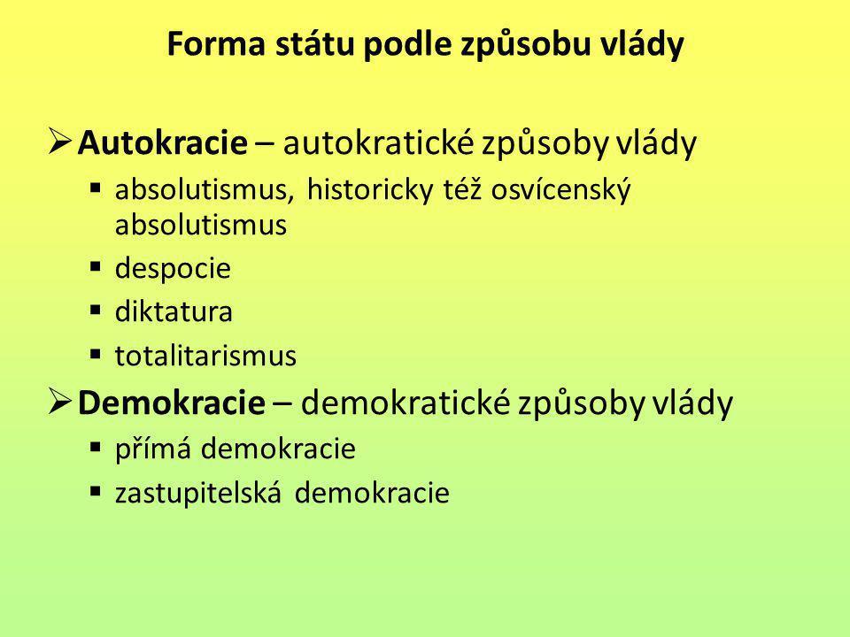 Forma státu podle způsobu vlády  Autokracie – autokratické způsoby vlády  absolutismus, historicky též osvícenský absolutismus  despocie  diktatur