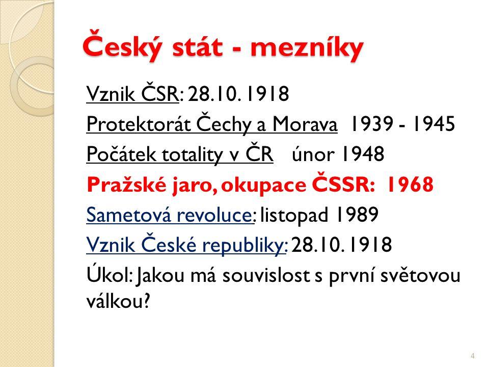 Český stát - mezníky Vznik ČSR: 28.10.