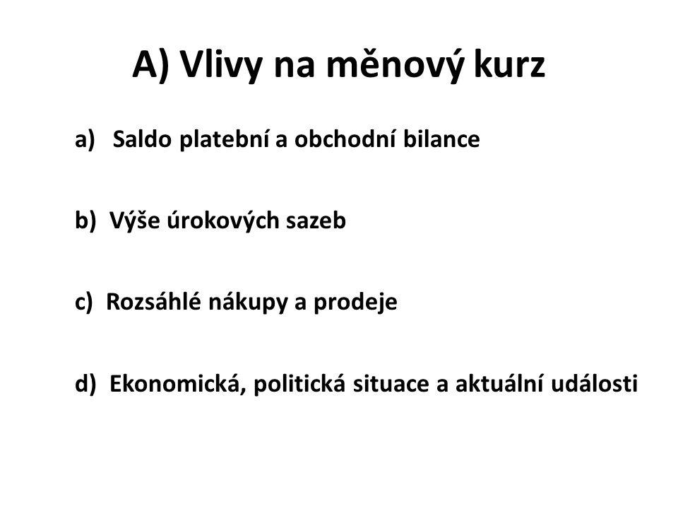 A) Vlivy na měnový kurz a)Saldo platební a obchodní bilance b) Výše úrokových sazeb c) Rozsáhlé nákupy a prodeje d) Ekonomická, politická situace a ak