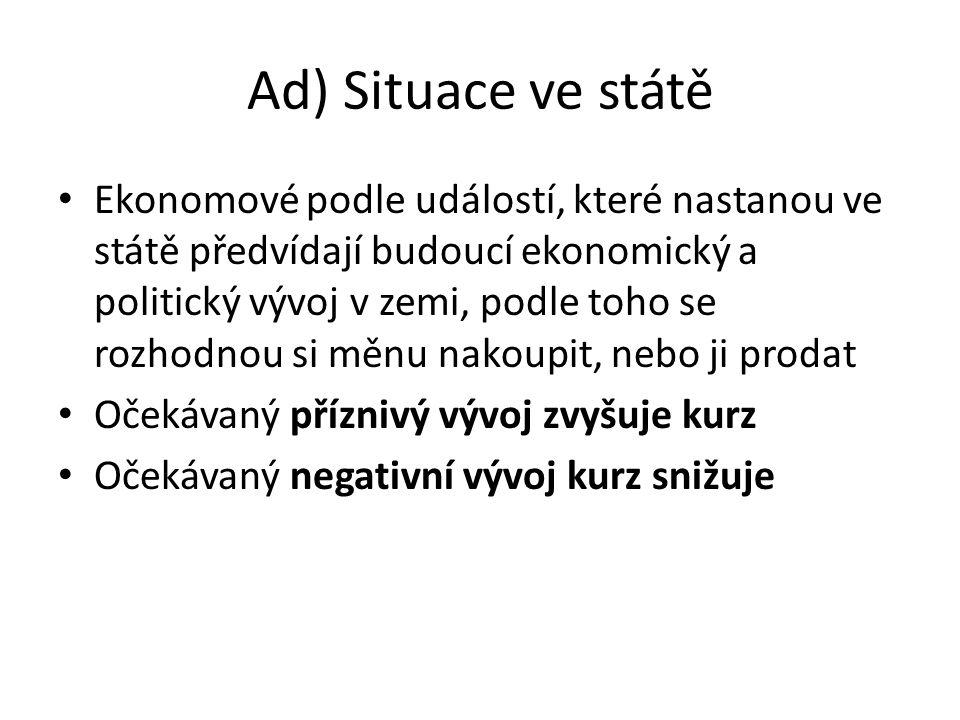Ad) Situace ve státě Ekonomové podle událostí, které nastanou ve státě předvídají budoucí ekonomický a politický vývoj v zemi, podle toho se rozhodnou