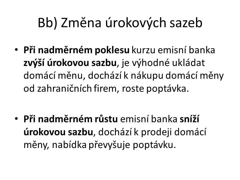 Bb) Změna úrokových sazeb Při nadměrném poklesu kurzu emisní banka zvýší úrokovou sazbu, je výhodné ukládat domácí měnu, dochází k nákupu domácí měny