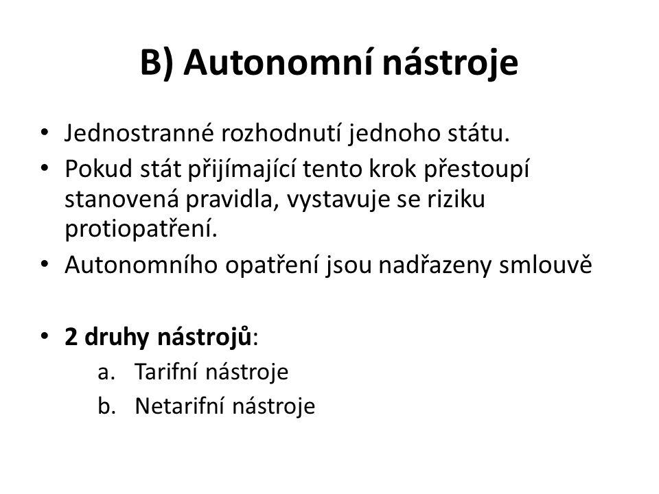 B) Autonomní nástroje Jednostranné rozhodnutí jednoho státu. Pokud stát přijímající tento krok přestoupí stanovená pravidla, vystavuje se riziku proti