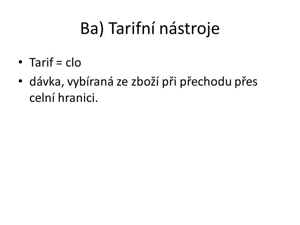 Ba) Tarifní nástroje Tarif = clo dávka, vybíraná ze zboží při přechodu přes celní hranici.