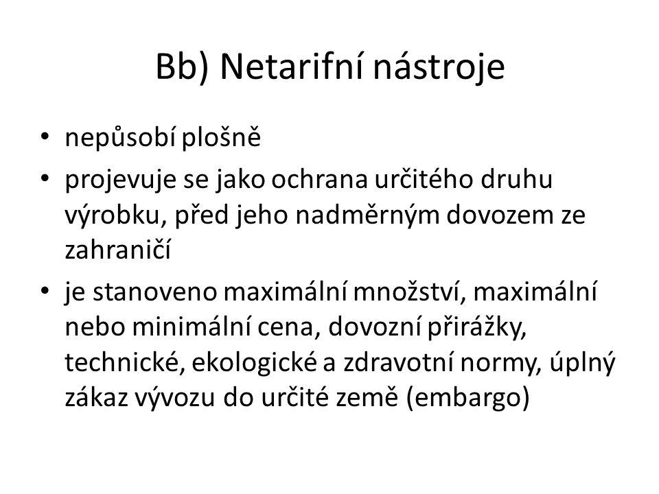 Bb) Netarifní nástroje nepůsobí plošně projevuje se jako ochrana určitého druhu výrobku, před jeho nadměrným dovozem ze zahraničí je stanoveno maximál
