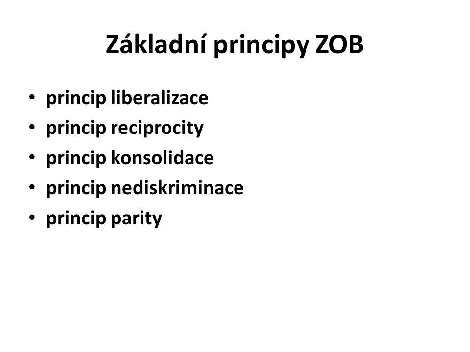 Základní principy ZOB princip liberalizace princip reciprocity princip konsolidace princip nediskriminace princip parity