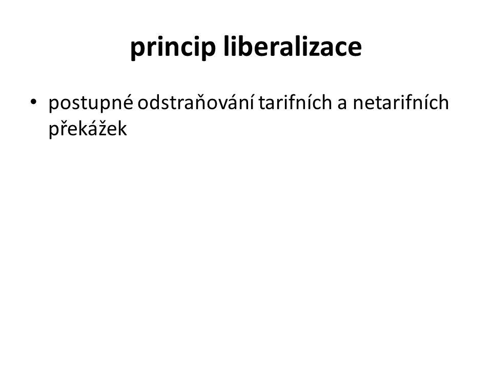 princip liberalizace postupné odstraňování tarifních a netarifních překážek
