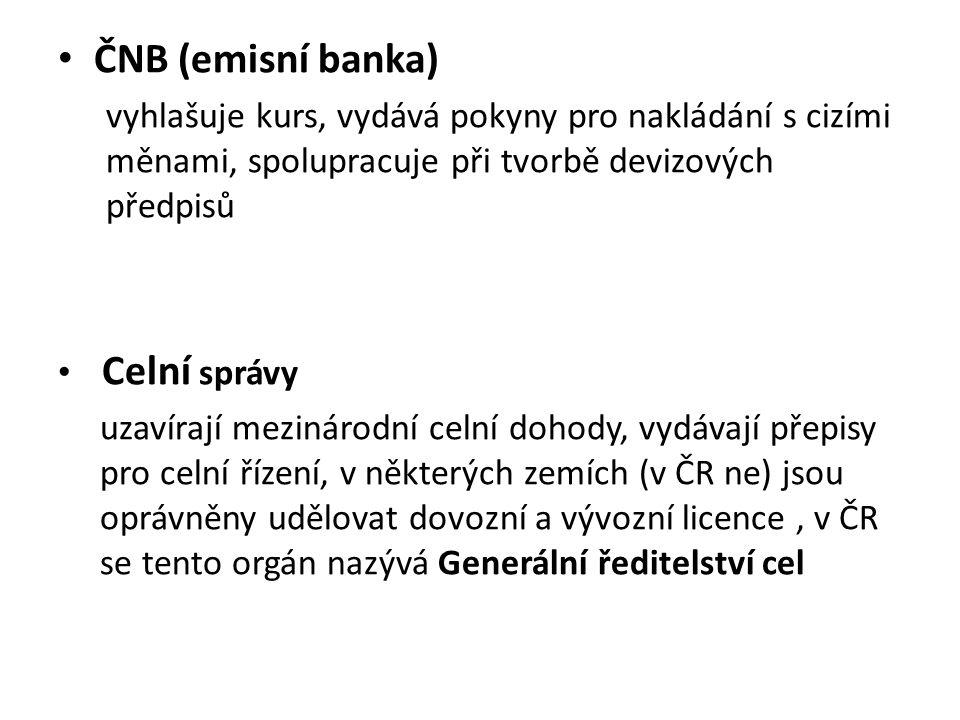 ČNB (emisní banka) vyhlašuje kurs, vydává pokyny pro nakládání s cizími měnami, spolupracuje při tvorbě devizových předpisů Celní správy uzavírají mezinárodní celní dohody, vydávají přepisy pro celní řízení, v některých zemích (v ČR ne) jsou oprávněny udělovat dovozní a vývozní licence, v ČR se tento orgán nazývá Generální ředitelství cel