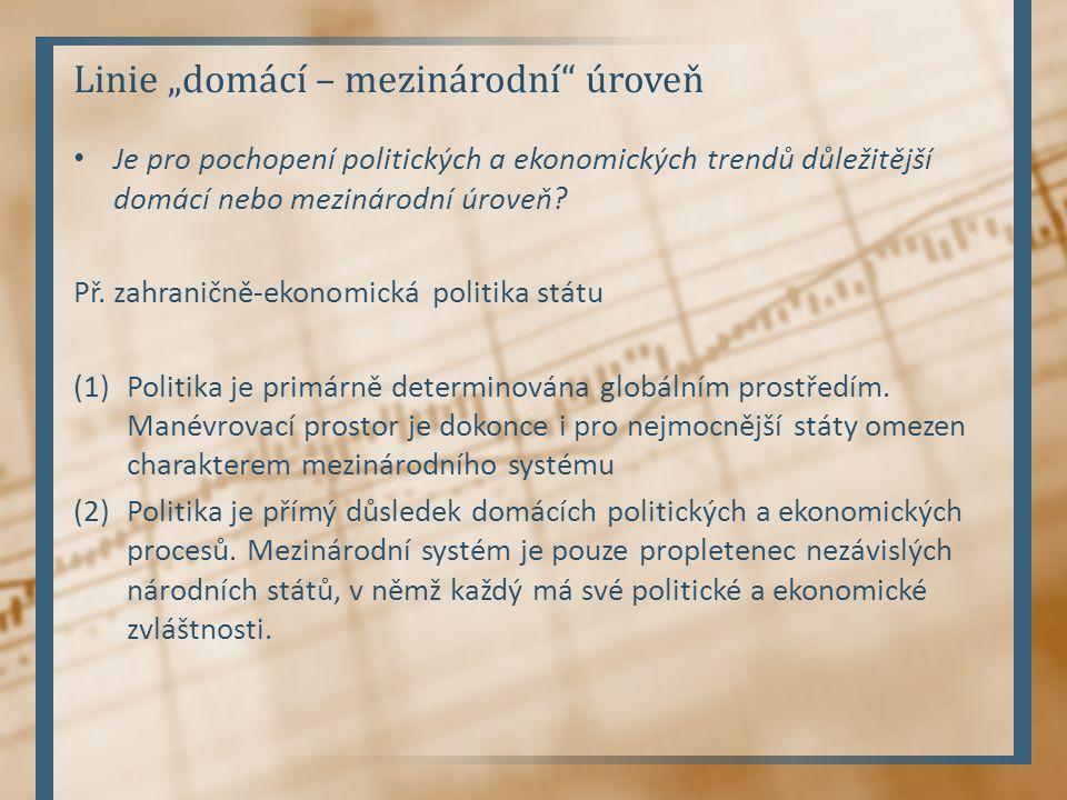 """Linie """"domácí – mezinárodní úroveň Je pro pochopení politických a ekonomických trendů důležitější domácí nebo mezinárodní úroveň."""