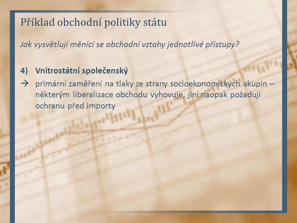 Příklad obchodní politiky státu Jak vysvětlují měnící se obchodní vztahy jednotlivé přístupy.