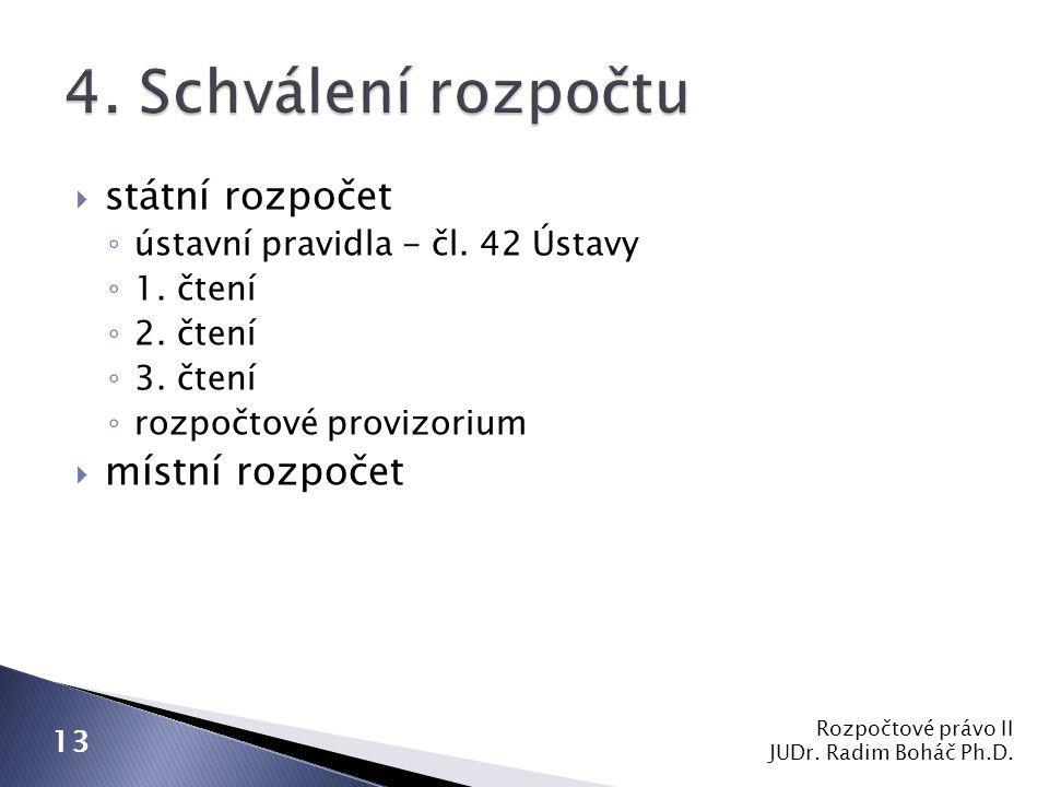  státní rozpočet ◦ ústavní pravidla - čl. 42 Ústavy ◦ 1.