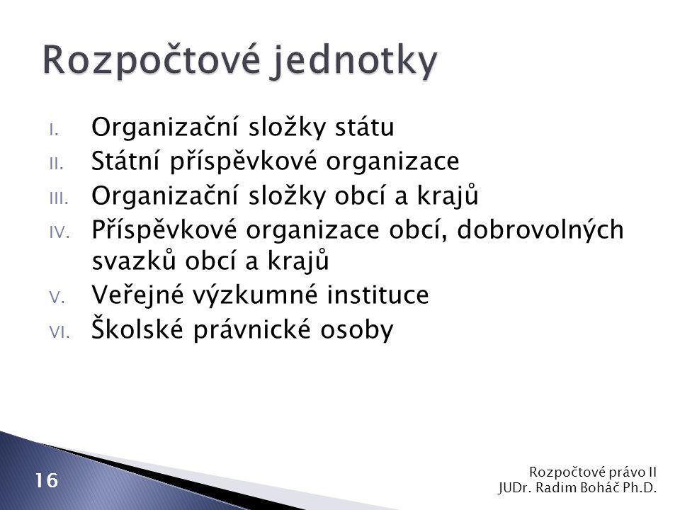 I. Organizační složky státu II. Státní příspěvkové organizace III.