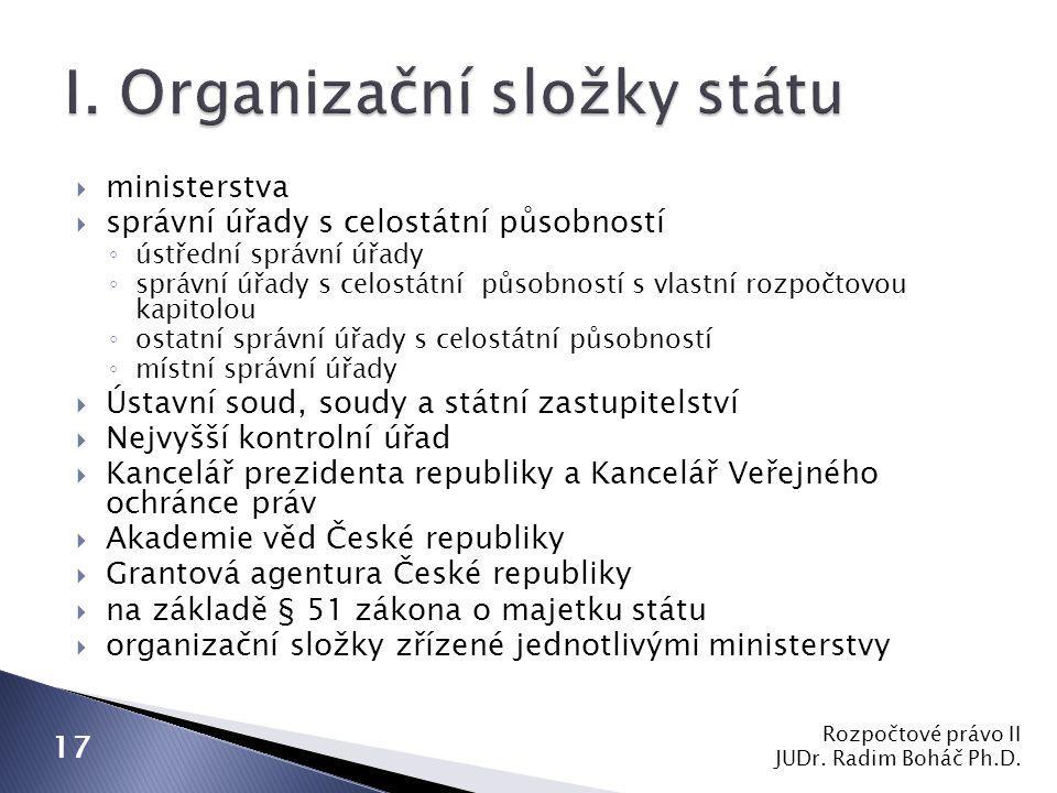  ministerstva  správní úřady s celostátní působností ◦ ústřední správní úřady ◦ správní úřady s celostátní působností s vlastní rozpočtovou kapitolo