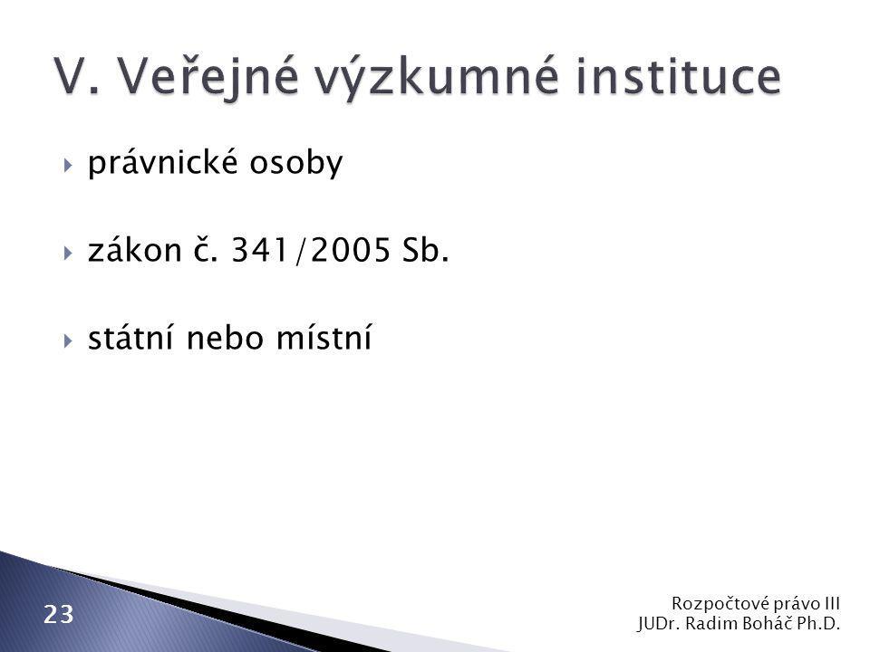  právnické osoby  zákon č. 341/2005 Sb.  státní nebo místní Rozpočtové právo III JUDr.