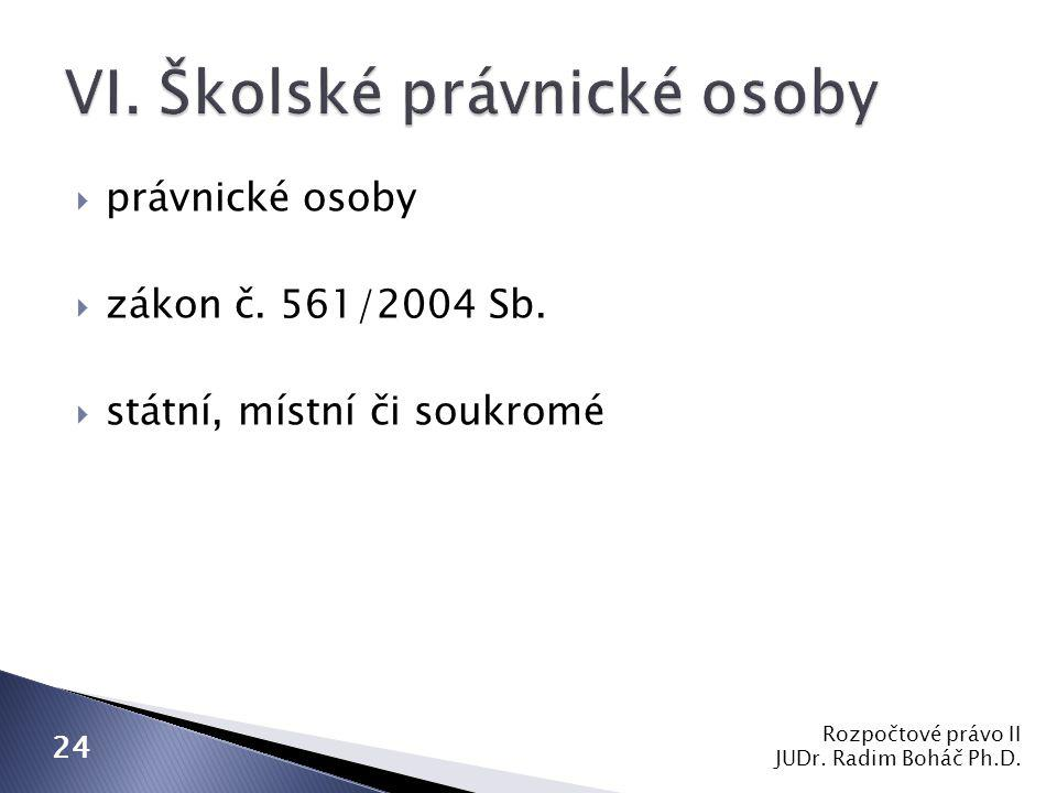  právnické osoby  zákon č. 561/2004 Sb.  státní, místní či soukromé Rozpočtové právo II JUDr. Radim Boháč Ph.D. 24