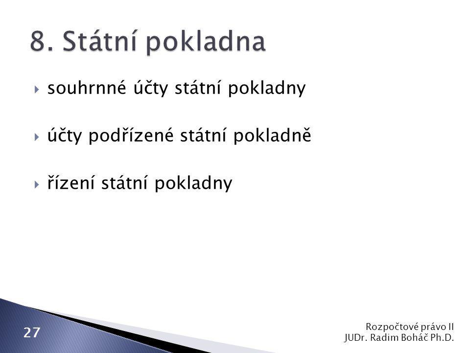  souhrnné účty státní pokladny  účty podřízené státní pokladně  řízení státní pokladny Rozpočtové právo II JUDr. Radim Boháč Ph.D. 27