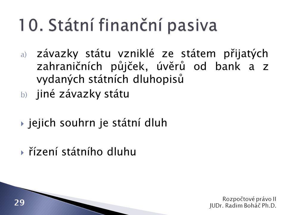 a) závazky státu vzniklé ze státem přijatých zahraničních půjček, úvěrů od bank a z vydaných státních dluhopisů b) jiné závazky státu  jejich souhrn je státní dluh  řízení státního dluhu Rozpočtové právo II JUDr.