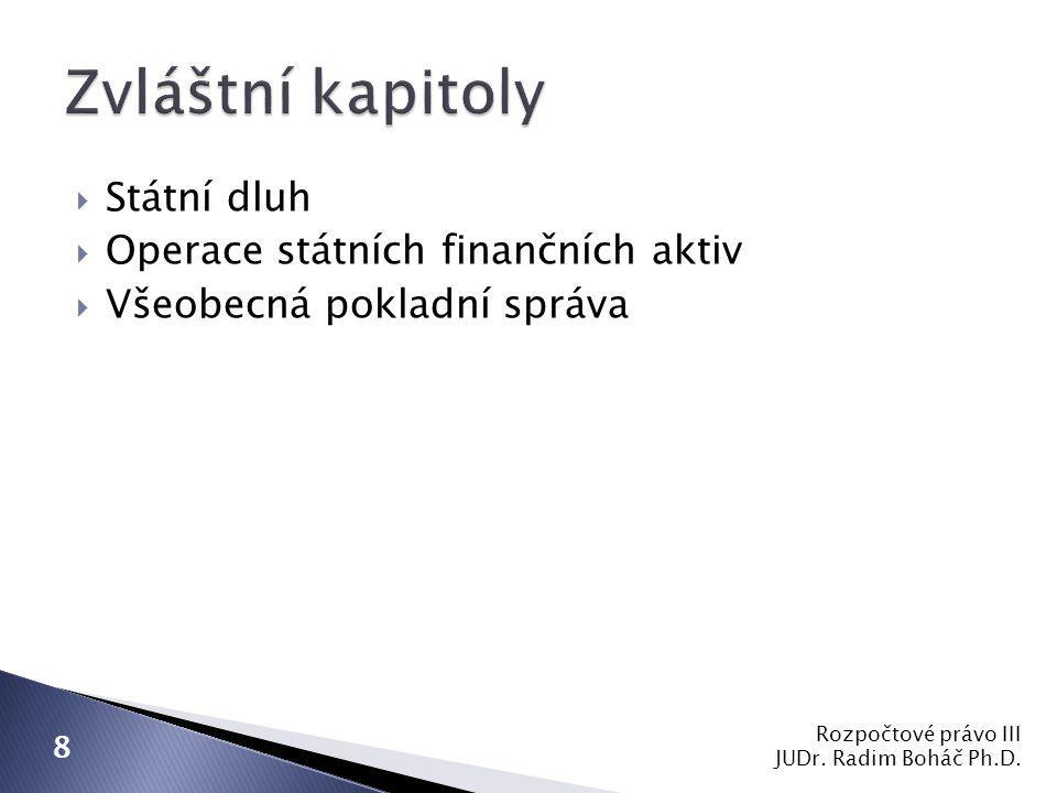  Státní dluh  Operace státních finančních aktiv  Všeobecná pokladní správa Rozpočtové právo III JUDr. Radim Boháč Ph.D. 8