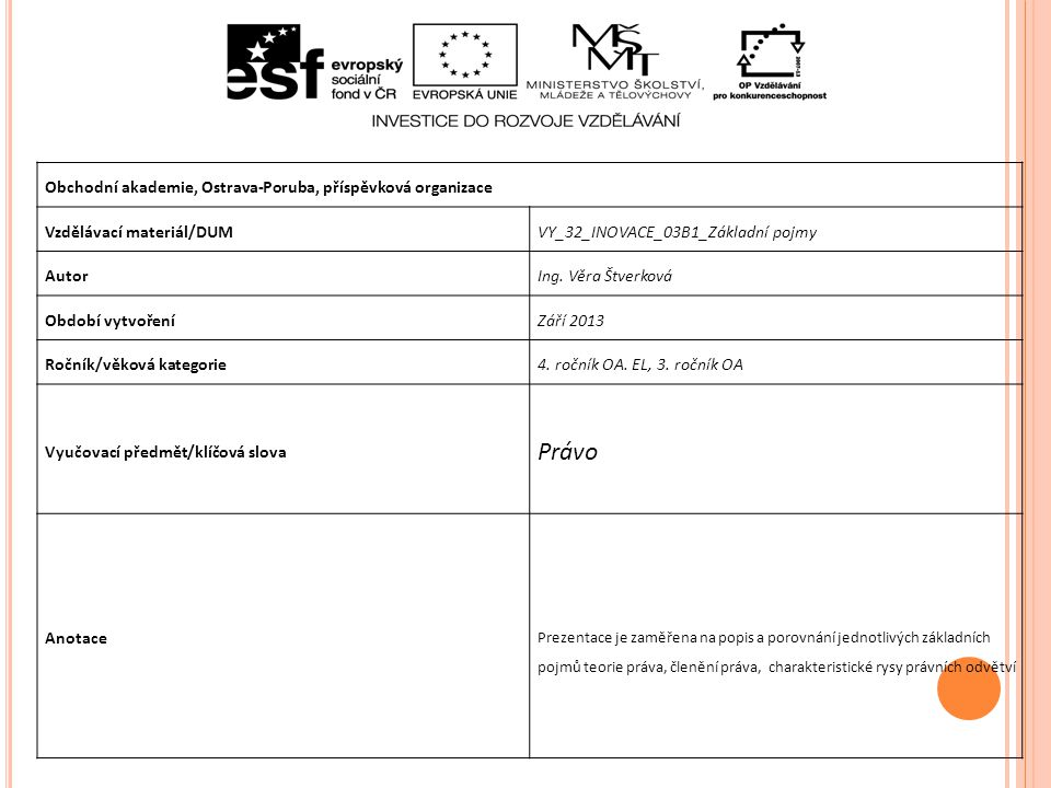 PRÁVO Definice práva Projekt je financován z prostředků ESF prostřednictvím Operačního programu Vzdělávání pro konkurenceschopnost a státním rozpočtem České republiky.