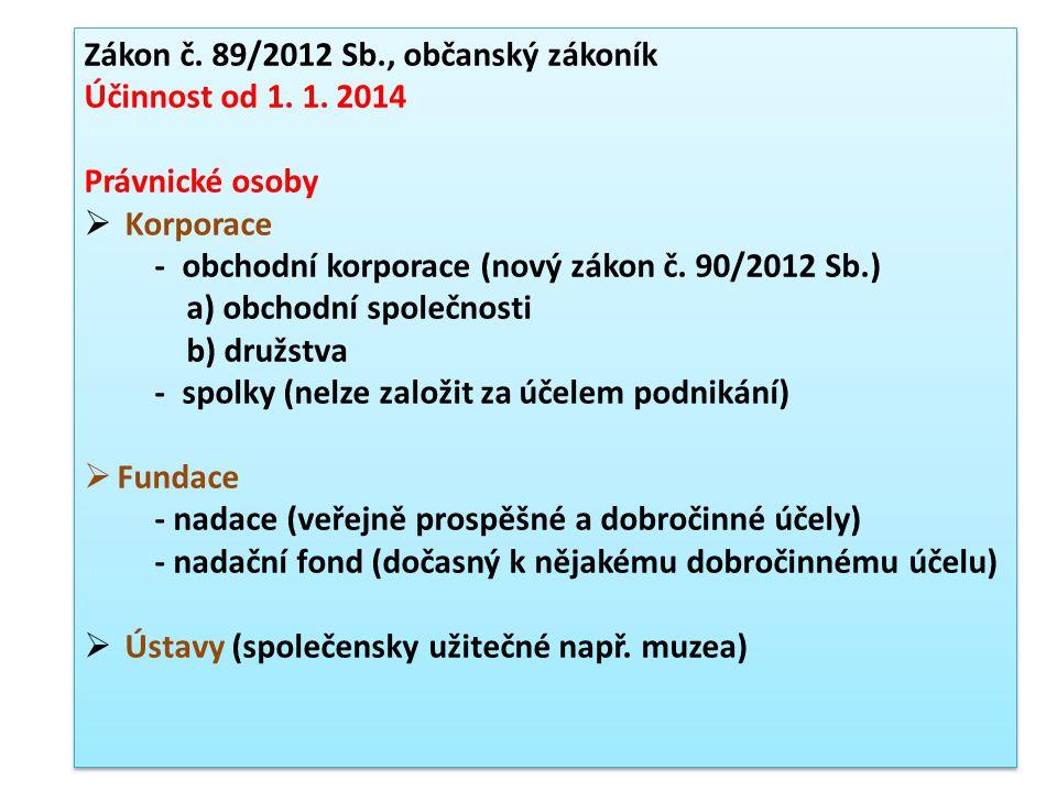 Zákon č. 89/2012 Sb., občanský zákoník Účinnost od 1.
