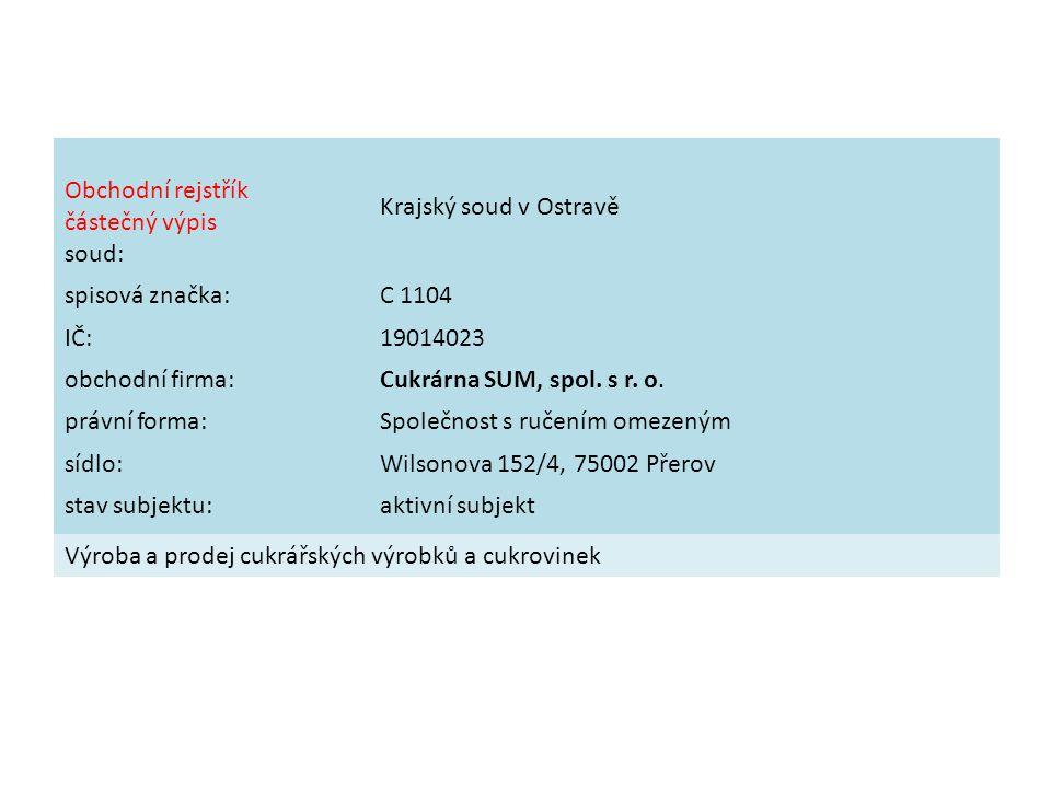 Obchodní rejstřík částečný výpis soud: Krajský soud v Ostravě spisová značka:C 1104 IČ:19014023 obchodní firma:Cukrárna SUM, spol.