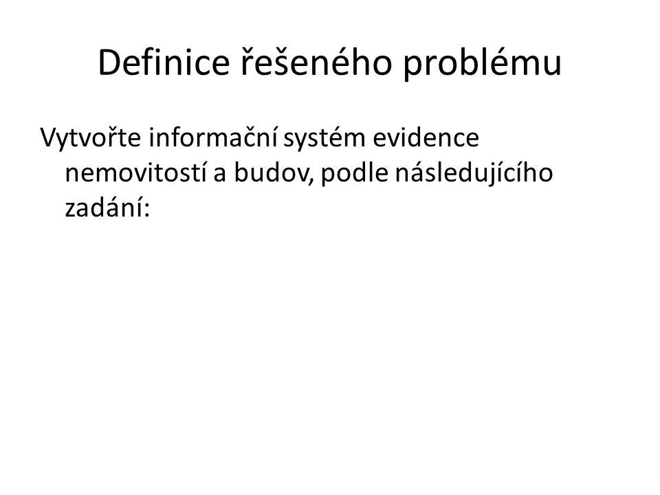 Definice řešeného problému Vytvořte informační systém evidence nemovitostí a budov, podle následujícího zadání: