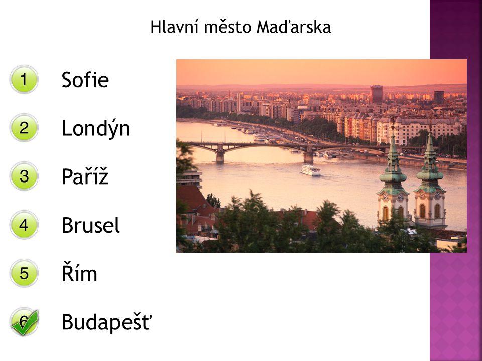 Hlavní město Maďarska Sofie Londýn Paříž Brusel Řím Budapešť