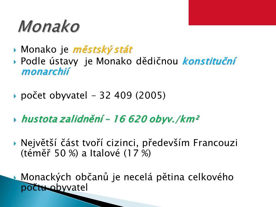 městský stát  Monako je městský stát konstituční monarchií  Podle ústavy je Monako dědičnou konstituční monarchií  počet obyvatel – 32 409 (2005) 