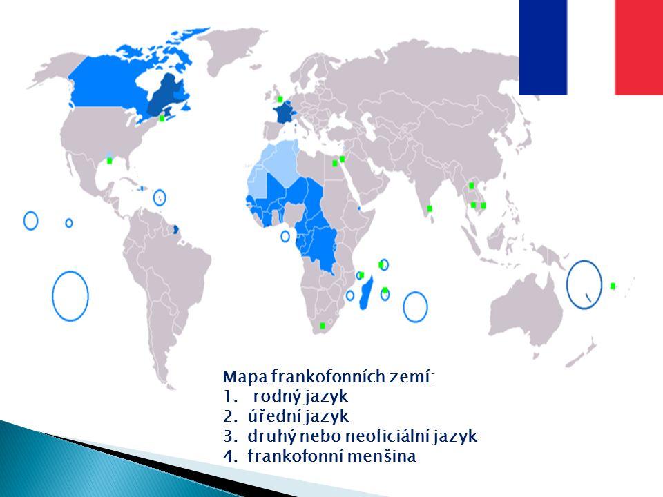 Mapa frankofonních zemí: 1. rodný jazyk 2.úřední jazyk 3.druhý nebo neoficiální jazyk 4.frankofonní menšina