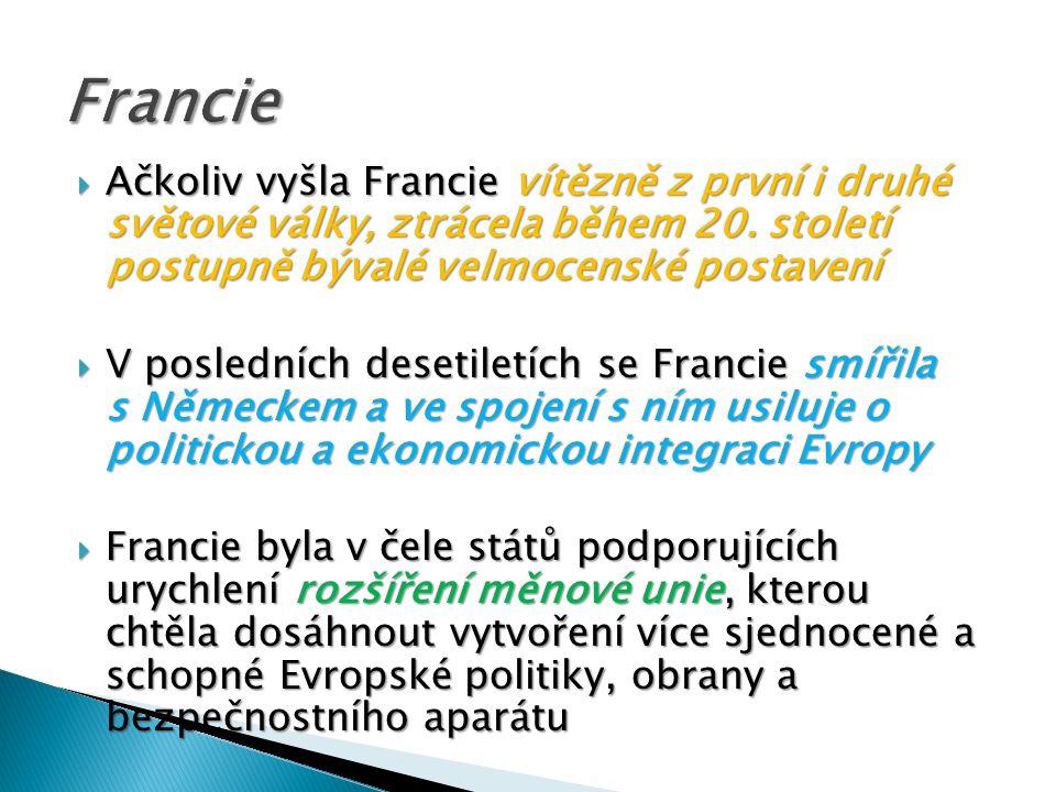  Pevninská část Francie zaujímá plochu 543 965 km²  Na severu a západě je krajina rovinatá s mírným vlněním, na zbytku území převážně pahorkatá a hornatá  Ve francouzských Alpách se nachází nejvyšší bod západní Evropy Mont Blanc (4 810 m)  Další hornaté kraje země zahrnují Pyreneje, Centrální masív, Jura, Vogézy a Ardenny  Největšími francouzskými řekami jsou Loire, Rhône, Seina a část toku Rýnu  Loire je zároveň také nejdelší francouzskou řekou