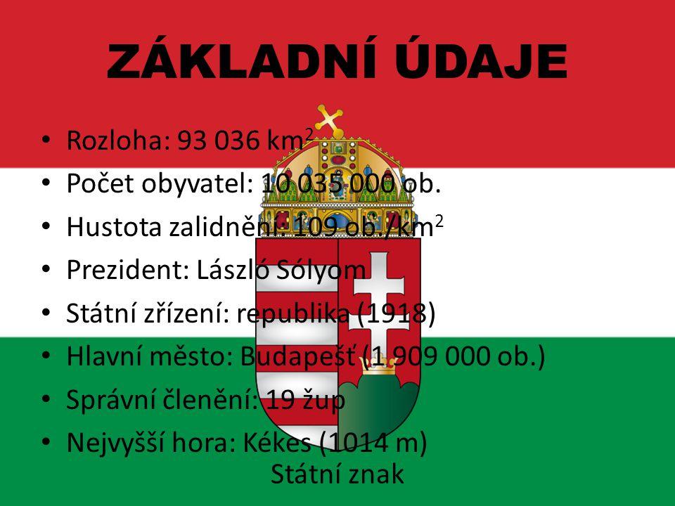 Největší jezero: Balaton (595 km2) Nejdelší řeky: Duna (Dunaj – 2850 km) Tizsa (Tisa – 976 km) Hlavní etnické skupiny: Maďaři 92%, Romové 3%, Němci, Slováci, Židé Úřední jazyk: maďarština Měna: 1 forint (HUF) = 100 fillerů Hospodářství: vyspělý průmysl, zemědělství ZÁKLADNÍ ÚDAJE