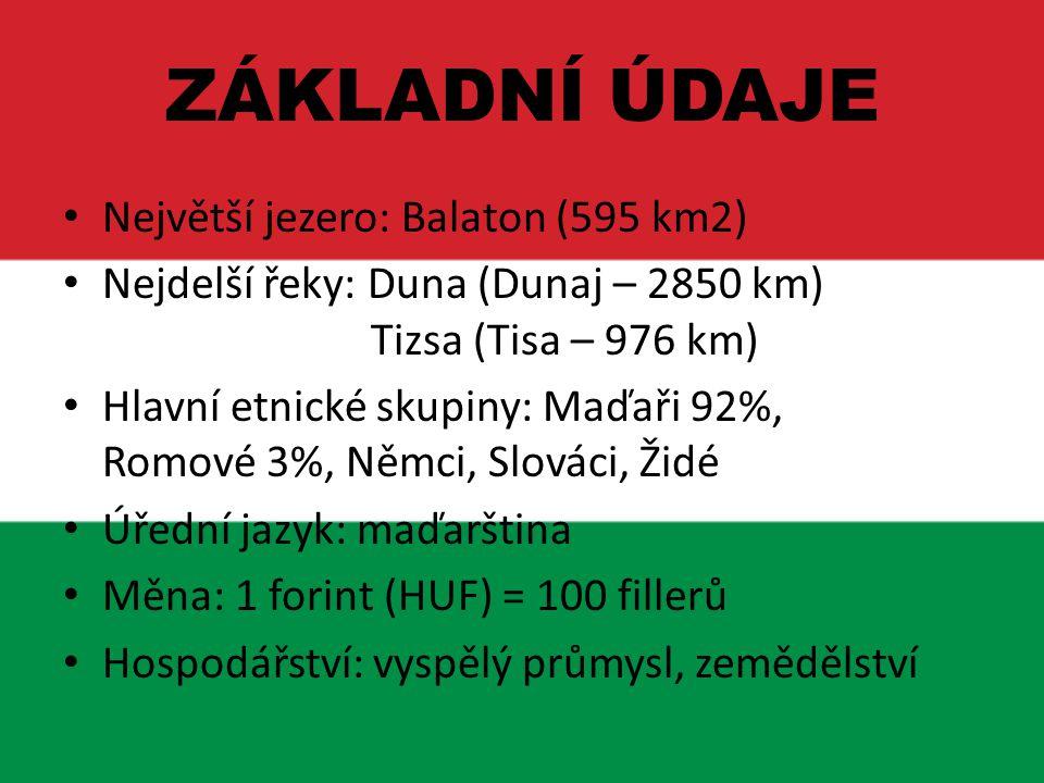 Největší jezero: Balaton (595 km2) Nejdelší řeky: Duna (Dunaj – 2850 km) Tizsa (Tisa – 976 km) Hlavní etnické skupiny: Maďaři 92%, Romové 3%, Němci, S