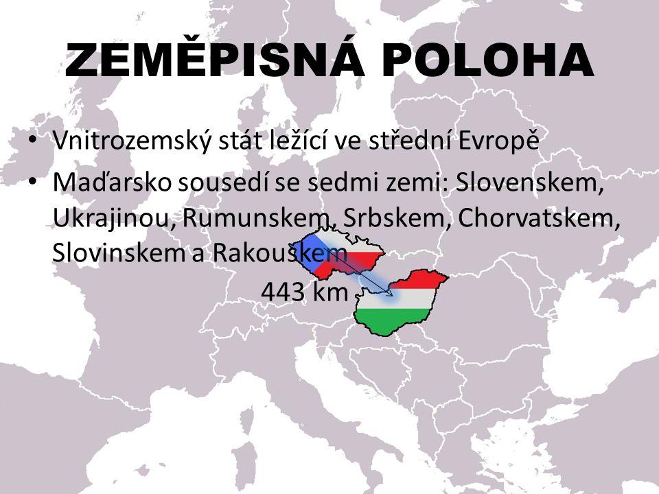 Vnitrozemský stát ležící ve střední Evropě Maďarsko sousedí se sedmi zemi: Slovenskem, Ukrajinou, Rumunskem, Srbskem, Chorvatskem, Slovinskem a Rakous