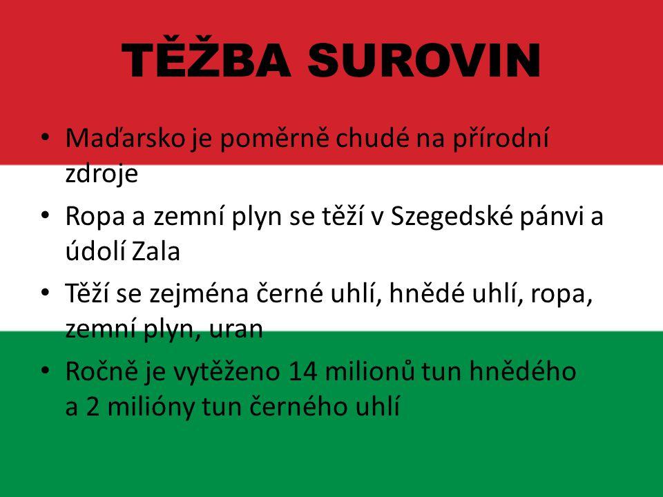 TĚŽBA SUROVIN Maďarsko je poměrně chudé na přírodní zdroje Ropa a zemní plyn se těží v Szegedské pánvi a údolí Zala Těží se zejména černé uhlí, hnědé
