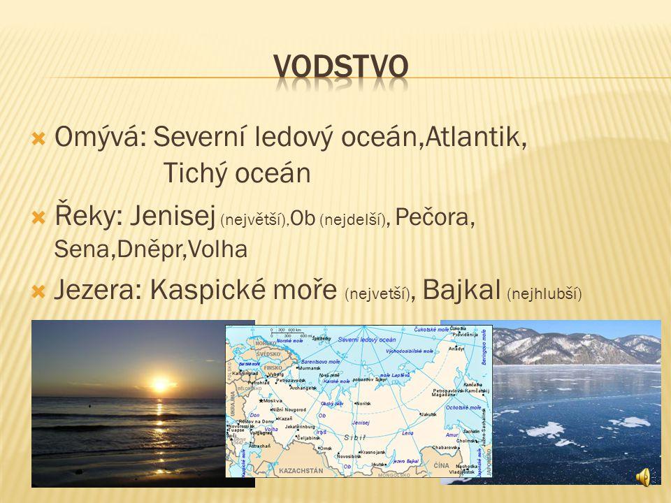  Hranice: Pobaltské republiky, Baltské moře, Tichý oceán  Povrch: spíše rovinatý  Pohoří: Ural (hranice mezi Asií a Evropou)  Dělíme na 83 subjektů (21 republik,46 oblastí,8 krajů,4 autonomních okruhů,1autonomní,oblast 2 federální republiky)
