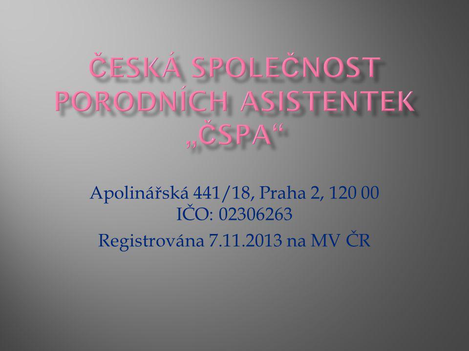 Apolinářská 441/18, Praha 2, 120 00 IČO: 02306263 Registrována 7.11.2013 na MV ČR