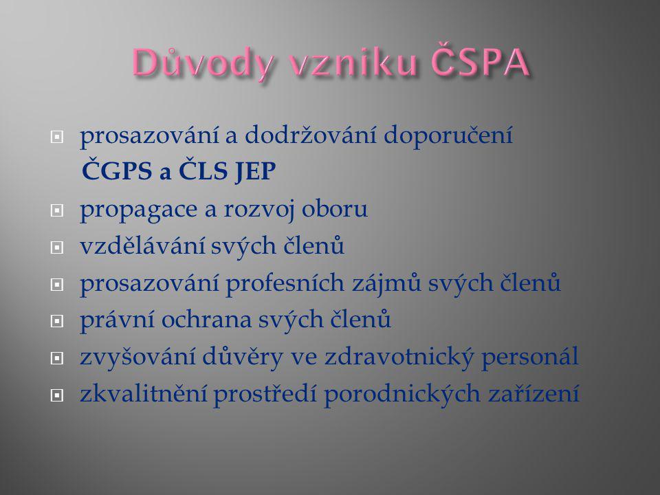  prosazování a dodržování doporučení ČGPS a ČLS JEP  propagace a rozvoj oboru  vzdělávání svých členů  prosazování profesních zájmů svých členů  právní ochrana svých členů  zvyšování důvěry ve zdravotnický personál  zkvalitnění prostředí porodnických zařízení