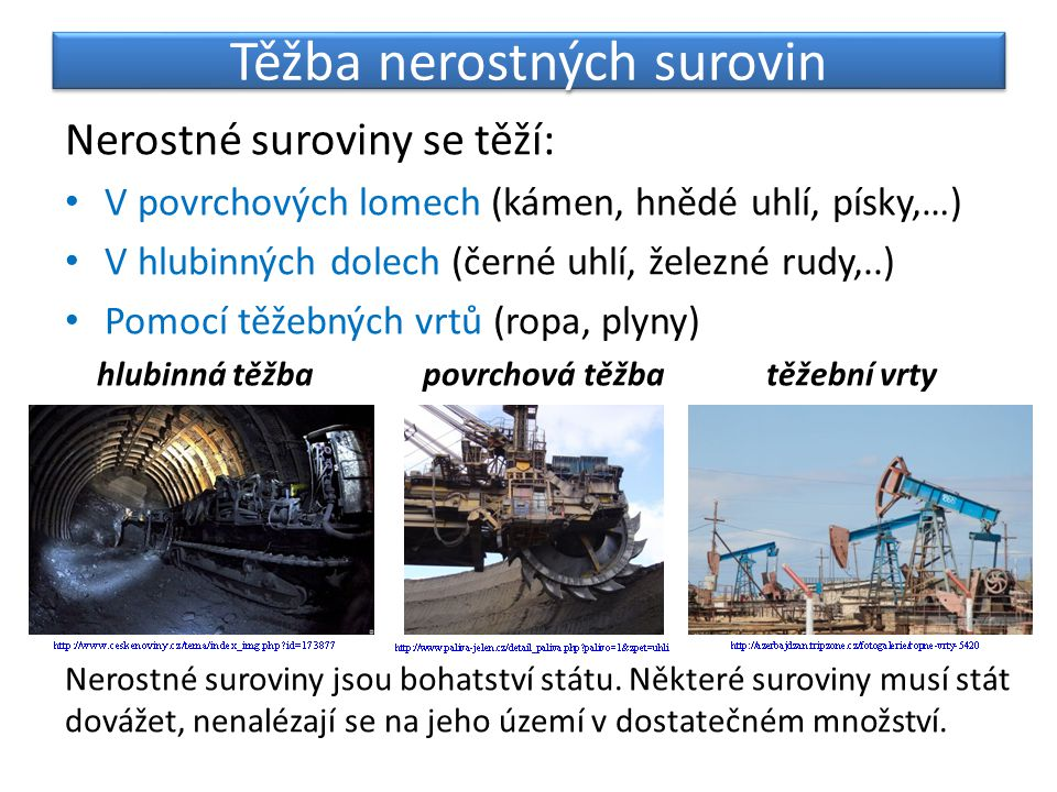Těžba nerostných surovin Nerostné suroviny se těží: V povrchových lomech (kámen, hnědé uhlí, písky,…) V hlubinných dolech (černé uhlí, železné rudy,..) Pomocí těžebných vrtů (ropa, plyny) hlubinná těžba povrchová těžba těžební vrty Nerostné suroviny jsou bohatství státu.