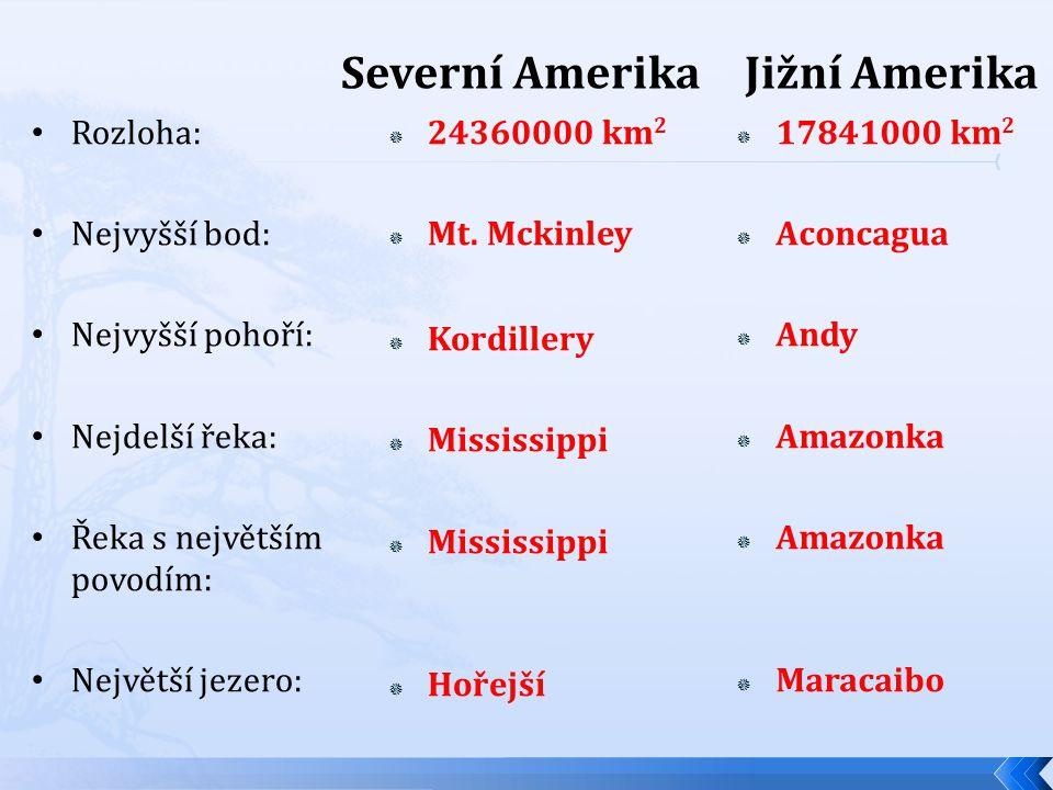 Severní Amerika  24360000 km 2  Mt.