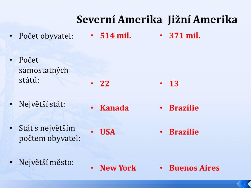 Severní Amerika 514 mil. 22 Kanada USA New York Jižní Amerika 371 mil.