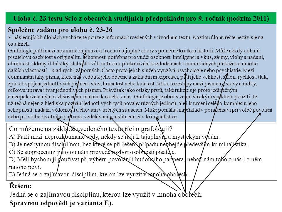 Úloha č. 23 testu Scio z obecných studijních předpokladů pro 9.