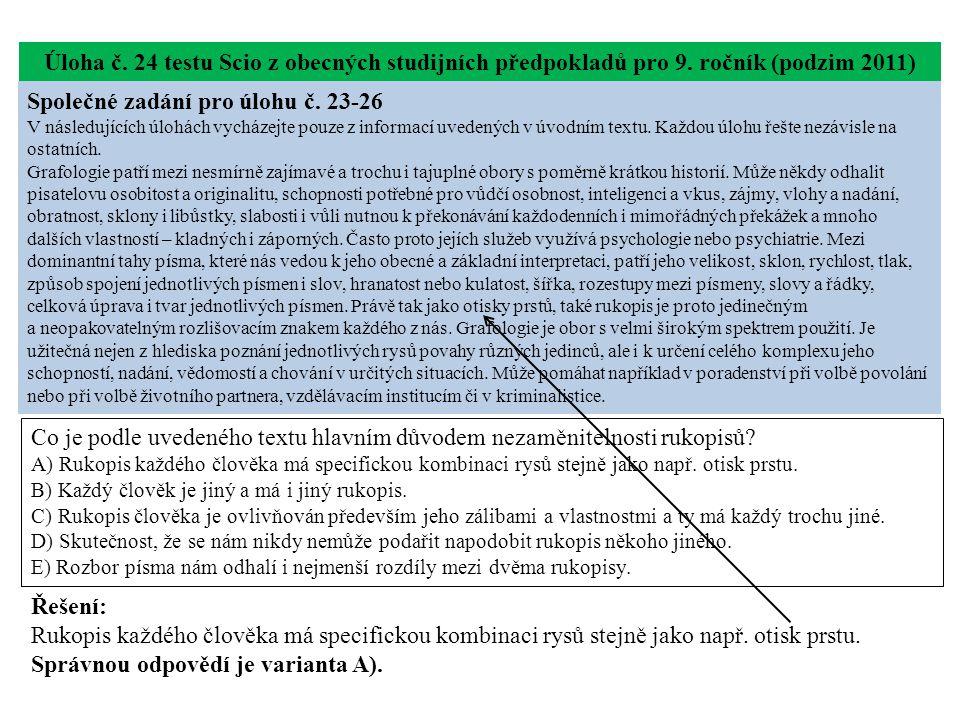 Úloha č. 24 testu Scio z obecných studijních předpokladů pro 9.