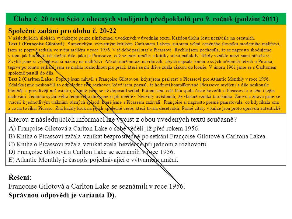 Úloha č. 20 testu Scio z obecných studijních předpokladů pro 9.