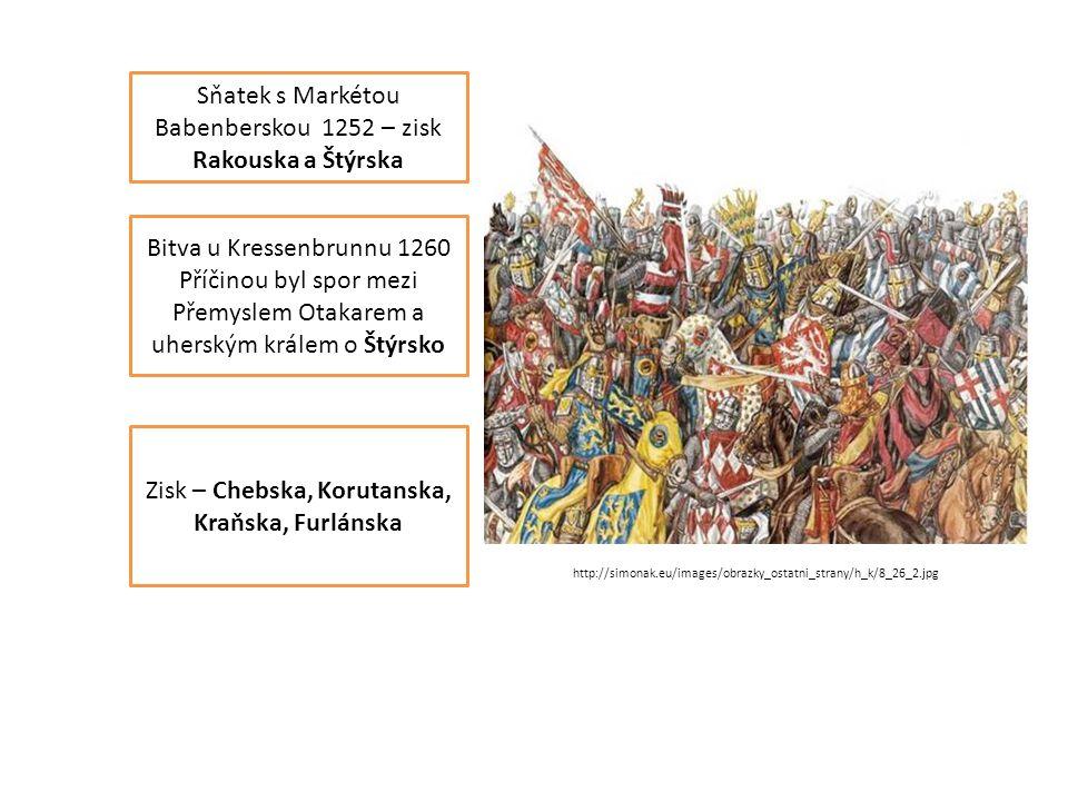 Sňatek s Markétou Babenberskou 1252 – zisk Rakouska a Štýrska Bitva u Kressenbrunnu 1260 Příčinou byl spor mezi Přemyslem Otakarem a uherským králem o Štýrsko Zisk – Chebska, Korutanska, Kraňska, Furlánska http://simonak.eu/images/obrazky_ostatni_strany/h_k/8_26_2.jpg